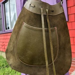 Vintage olive green purse leather suede hippie
